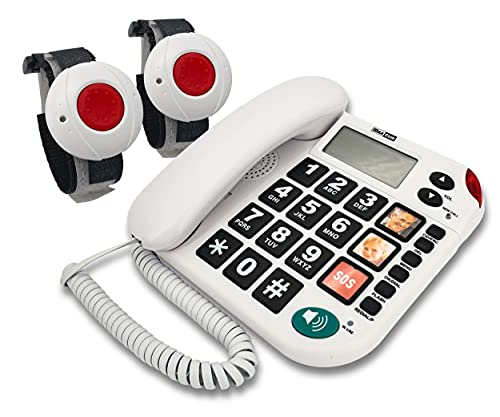 MAXCOM KXT481SOS (G-TELWARE®) Haus-Notruf-Seniorentelefon mit Funk-SOS-Sender, schnurgeb&enes Festnetz-Handy mit 2 Armbandsendern, Große Tasten, TAE Stecker, Hörgerätekompatibel