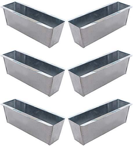 Novaliv Pflanzkasten verzinkt Blumenkasten Balkonkasten für Europlatten Palettenmöbel Blumenregal Pflanzgefäß Kräutertopf (6, Verzinkt)