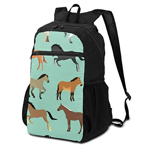 Fashion&shop Seamless Pattern with Horses In Flat Style Bookbag Lightweight Bag to School for Elementrary Pupil 144 Inch Teenager Daily Washable Backpack