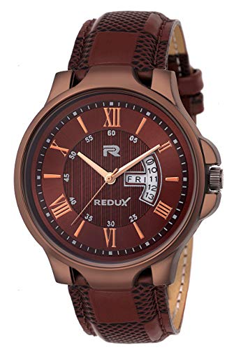 Redux Analogue Date & Time Men's & Boy's Watch (Brown)