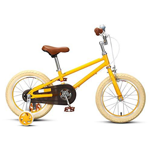 Kids Bikes Estilo Retro Niña Princesa Bicicleta Infantil Amarillo Verde Rueda De Entrenamiento Desmontable Neumáticos Anchos Asiento Suave 96% Instalado Bicicleta para Niños(Size:14in,Color:Amarillo)