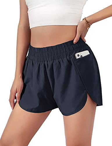 """Blooming Jelly Womens Quick-Dry Running Shorts Sport Layer Elastic Waist Active Workout Shorts with Pockets 1.75"""" (Large, Navy, l)"""