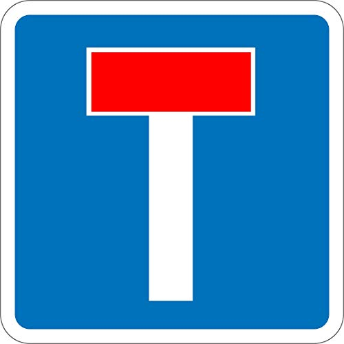Label - Sécurité - Avertissement - No through road for vehicles Road safety sign 60x60cm - bureau, entreprise, école, hôtel/Hotel