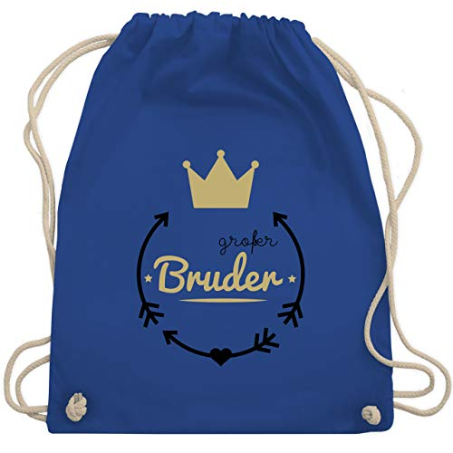 Shirtracer Geschwisterliebe Kind - Großer Bruder - Krone - Unisize - Royalblau - turnbeutel großer bruder - WM110 - Turnbeutel und Stoffbeutel aus Baumwolle