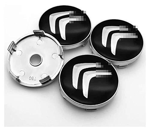 Boutique 4 unids Auto Alloy Wheel Hub Center Caps Cubiertas Cubiertas de 60 mm Fit para Citroen C1 3 6 BX CX GT C4 Cactus C4 Picasso Berlingo C-Cero Insignia de Reemplazo Emblema Cubiertas Decorativas