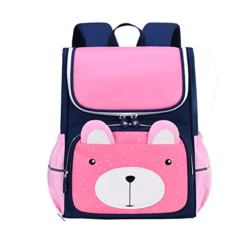 HXA Girls Backpack Pink Cute Small Bear Schoolbag Waterproof Breathable Bookbags with Safty Reflective strip for Grade 1-6 Elementary Students,M