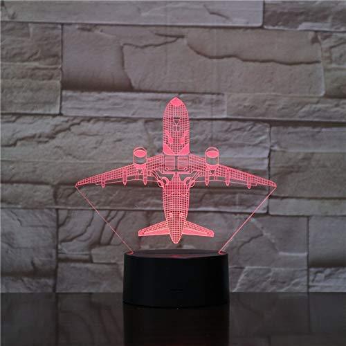 Luz nocturna 3D avión volador táctil/control remoto luz nocturna LED estéreo panel acrílico decoración de mesa 7 colores para cambiar la luz del dormitorio