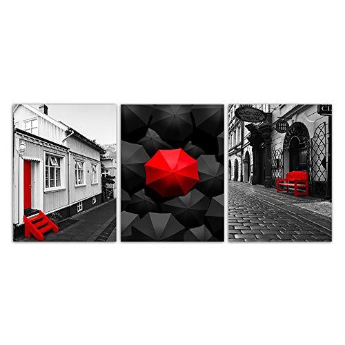 Bzdmly Scandinavische afbeeldingen muurkunstdruk zwart rode paraplu stoel straatlandschap poster decoratie 40x60 cm/15.7