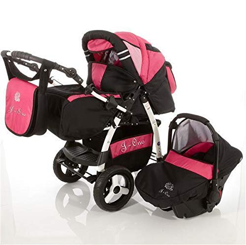 3 in 1 Combi kinderwagen Kinderwagen Complete Set met autostoel Isofix J-One van ChillyKids 2in1 without car seat Zwart & Roze