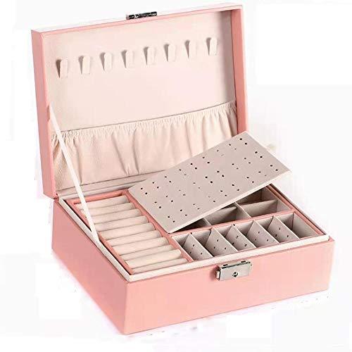 QWSNED Caja de joyería,Caja de almacenamiento de joyería de cuero PU,Caja de joyería portátil para mujeres,Caja de almacenamiento de joyería de doble capa de gran capacidad