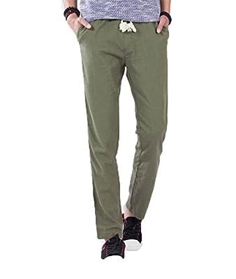StylishYoung Mens Summer Casual Beach Trousers Lightweight Elastic Linen Pants