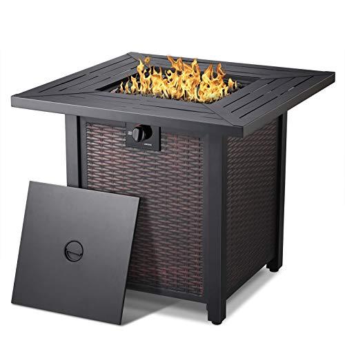 28''Propane Fire Pit Table,50,000 BTU Square Gas Firepits ETL Certification Rattan & Wicker-Look...
