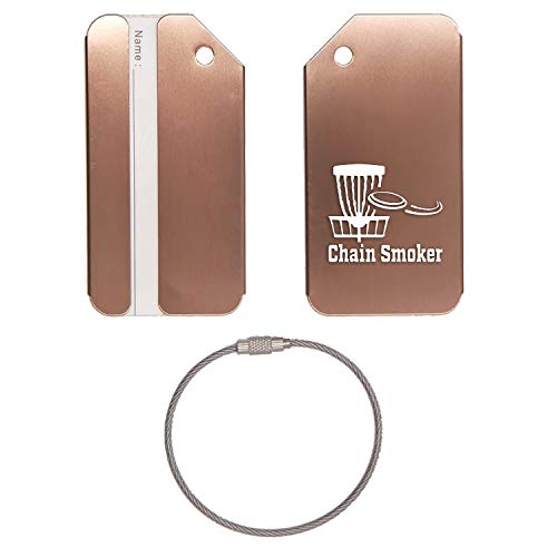 Chain Smoker Disc Golf Stainless Steel - Engraved Luggage Tag (Coffee) - United States Military Standard - For Any Type Of Luggage, Suitcases, Gym Bags, Briefcases, Golf Bags