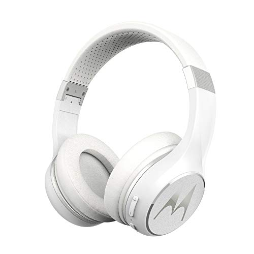 Motorola Escape 220 Over-The-Ear Bluetooth Wireless Headphones - HD Sound, Built-in Microphone, 23-Hour Play Time, Noise Isolation - Foldable & Compact - White