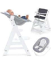 Hauck Alpha Newborn Set – barnstol i trä för spädbarn – Hauck barnstol från spädbarn till småbarn med babysitterkudde och 5-punktssele – barnstol baby – vit