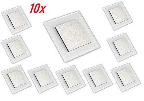 LED Wandeinbauleuchte, Treppenbeleuchtung, Beleuchtung von Treppen, Treppenleuchte, Wandeinbaustrahler, Treppenlicht Wandstrahler 230V 2W IP20 (Kalt-weiß, 10 Stück)