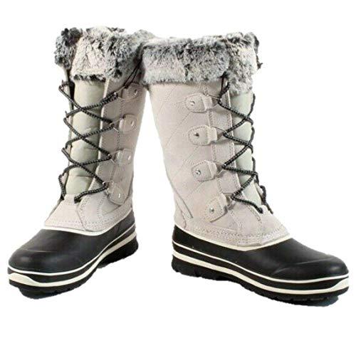 Khombu Suede Leather Faux Fur Boots Emily Grey… (Numeric_9)