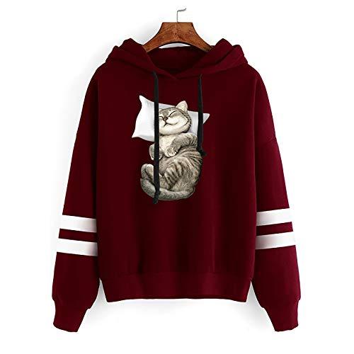 CHMORA Sudadera con capucha para mujer, lindo gato durmiendo estampado de manga larga jersey primavera y otoño sudadera con capucha paralelo bar suéter de regalo para ella