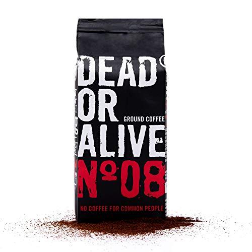 DEAD OR ALIVE Moka No08 - 250g de café moulu - Café moka fort et peu acide avec du caractère - Robusta le plus fin avec un peu de grains Arabica - Préparation au poêle - Moka pour les Bialetti