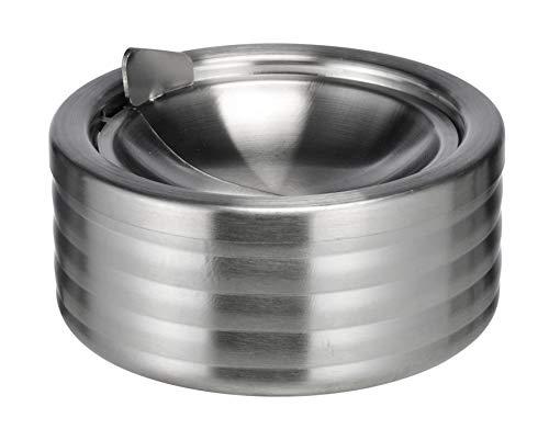 Spetebo Edelstahl Aschenbecher mit Deckel - Tischascher 12 cm - Design Sturmaschenbecher mit Kipp Deckel - Klappaschenbecher Windaschenbecher