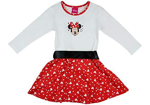 Disney Baby Mädchen Lang-arm Freizeit-Kleid mit schönem Rock mit Minnie Mouse in Gr. 74 80 86 92 98 104 110 116 122,1 2 3 4 5 6 7 Jahre Farbe Modell 13, Größe 98