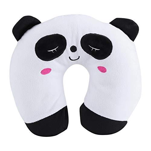 Acouto Almohada en Forma de U Almohada para el Cuello, Cuello de Viaje Animal PP Almohada de Algodón Suave en Forma de U Cojín de Juguete para Reposacabezas de Coche(Panda)