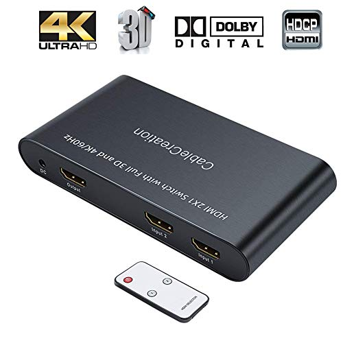 HDMI Switch 4K, CableCreation 2 Ports HDMI Switcher Splitter 4K@60Hz, 3D, Full HD, 1080P, 2 in 1 Out(2x1) Hub with IR Remote Controller for Roku, Blu-ray Player,PS3/PS4