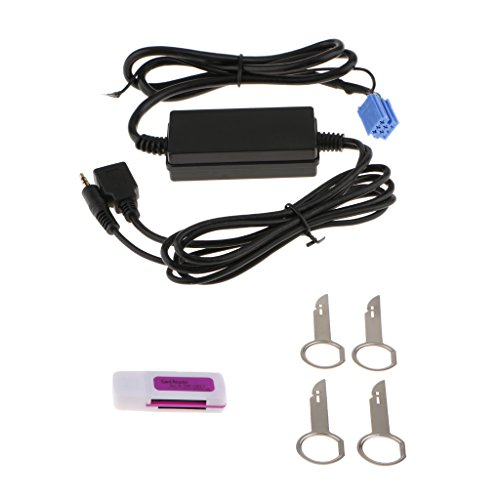 MagiDeal Mini Jack ISO à 3.5mm Aux dans Interface USB Câble Adaptateur pour VW Audi en Plastique et Métal