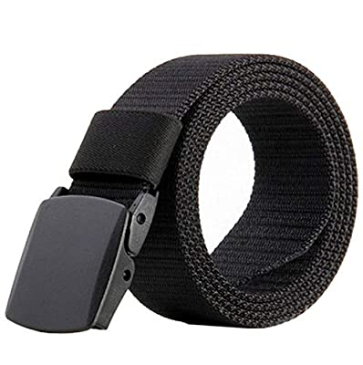 ALAIX Nylon Military Tactical Mens Waist Belt with Double Plastic buckles,One Size,Black-wave