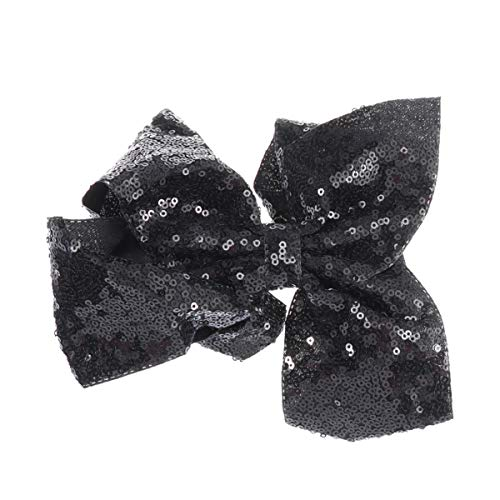 STOBOK Fashion Bow Hairpin Sequins Alligator Hair Clips for Daily Life Travel Party Festivals (Black)