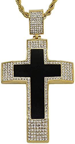 NC198 Collar con Colgante de Cruz Grande Helado de Hip Hop, Collar de crucifijo de Acero Inoxidable de Color Dorado para Hombre, joyería de 50 cm