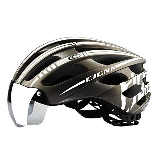 QMMD Casco Bici con Visiera Magnetica Staccabile Shield Casco da Bici e Luce di LED Ricaricabile Tramite USB per Bici da Corsa All aperto Sicurezza Sportiva 56~62cm,C White