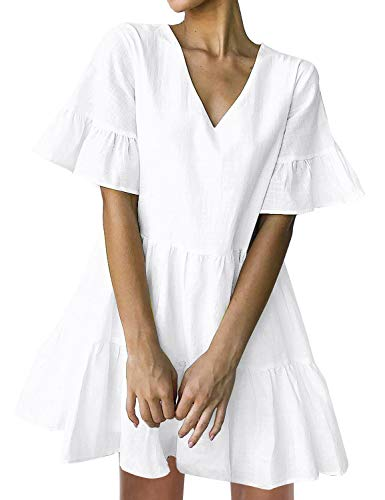 FANCYINN Women's White Cute Shift Dress Short Bell Sleeve Ruffle Hem V Neck Loose Swing Tunic Mini Dress with Pockets S