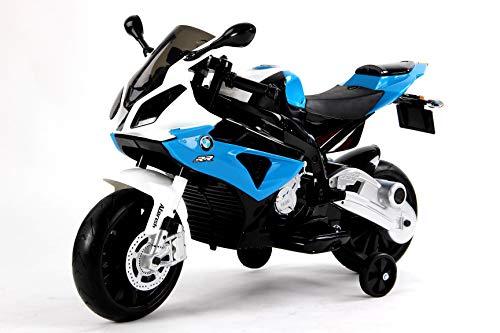 RIRICAR Kinder-Elektro Motorrad BMW S 1000 RR Blau mit Reifen aus Eva