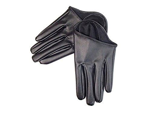 ハーフグローブ ショート 手袋 レディース フェイクレザーグローブ (ブラック)