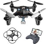 ATOYX Mini Drone con Cámara para Niños , AT-96 RC Quadcopter con App FPV en Tiempo Real, Drone de Juguete para Niños/Principiantes,Sensor de Gravedad, 3D Flips, Tecla de Despegue/Aterrizaje,Negro
