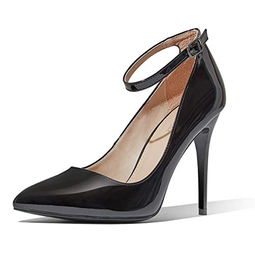 DailyShoes Heel Low Women Classic Ankle Strap Stiletto Pointed Toe Pump High Heel Stilettos Closed Mid Heels Autumn Sexy Dress Shoes Black,pt,10