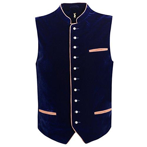 Almsach Herren Trachten-Mode Samtweste Trachtenweste Hard in Dunkelblau traditionell, Größe:50, Farbe:Dunkelblau