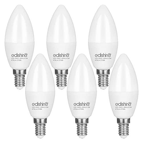 EDISHINE E14 LED Dimmbar Lampe, Warmweiß 2700K Glühbirne Kerzenform, C37 Kerze Birne, 5,5W 470 Lumen Leuchtmittel, Edison Schraube, Ersatz für 40W Halogenlampen, 6er Pack, CE und RoHS zertifiziert