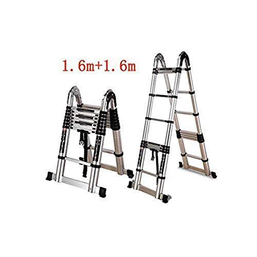 CKQ-KQ Ladder Household Vouw Aluminium Straight Ladder Gemakkelijk Portable Techniek Dubbelzijdig Ladder (Color : 1.6m+1.6m)