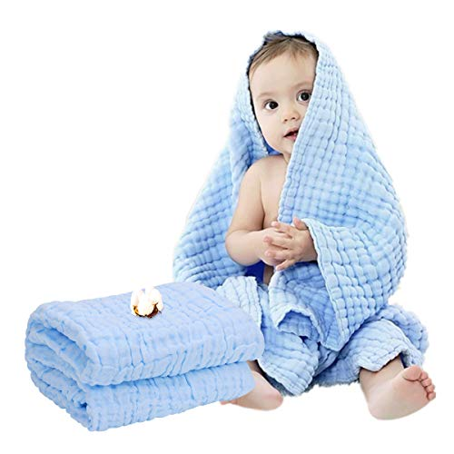 Muslin Baby Towel Super Soft Cotton Gauze Baby Bath Towel 6 Layers Infant Towel Newborn Towel Blanket Suitable for Babys Delicate Skin 40 x 40inches Blue