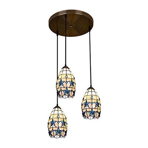 JUNJIJINGXIANG Lamparas Techo Colgantes Lámpara Pendiente de Tiffany Estilo Floral Pastoral Azul Lila Shell Island Natural Luz Pantalla Linterna Que cuelga Luces de Comedor