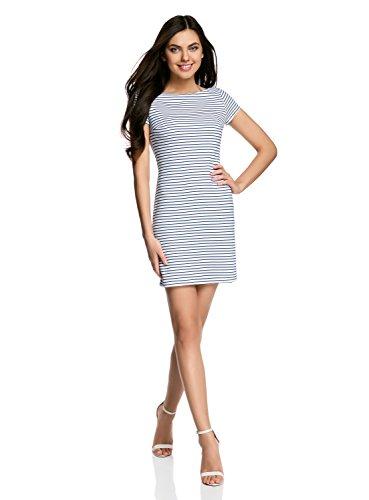 oodji Ultra Damen Enges Kleid mit U-Boot-Ausschnitt, Weiß, DE 38 / EU 40 / M