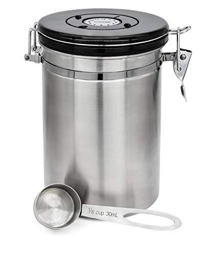 Granny's Kitchen Barattolo Ermetico per caffè in Acciaio Inox - Recipiente con Cucchiaio Dosatore Incluso - Contiene Fino a 500 gr di Chicchi di Caffe