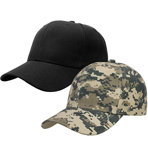 2pcs Baseball Cap for Men Women Adjustable Size Perfect for Outdoor Activities Black/Digital