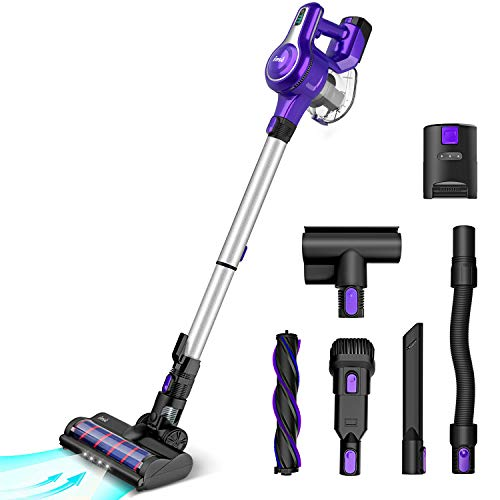 Cordless Vacuum Cleaner, 23Kpa 250W Brushless Motor Stick Vacume, Up to 45 Mins Max Runtime 2500mAh Rechargeable Battery, 5-in-1 Lightweight Handheld for Carpet Hard Floor Car Pet Hair, Purple-INSE S6