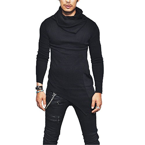Fanteecy Men's Fashion Cotton T-Shirts, Turtleneck Slim Fit Pullover Sweater Oblique Line Bottom Edge Tops Blouse(Black,M)