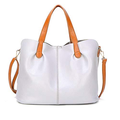 Slung Tragbare Tasche aus PU-Leder mit Magnetverschluss, grau, groß, weich, magnetisch, Grau / Weiß
