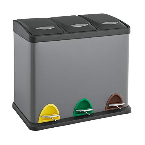 SVITA TC3X20 grau Küchen-Eimer 60Liter 3x20L dreifach XXL Abfalleimer 3er-Mülleimer Mülltrennung Treteimer