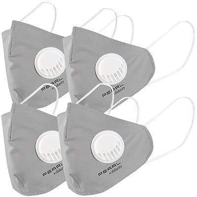 PEARL Hygienemasken: Mund-Nasen-Stoffmaske, Ventil, Nanofilter (98,9%), Größe M, 4er-Set (Mundschutz-Masken waschbar)
